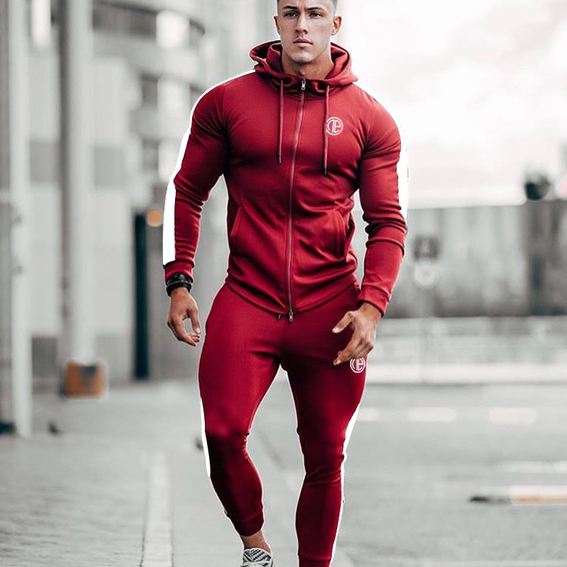 2020 Spring New Men Hoodies Pants 2Pcs/Sets Sweatshirt Sweatpants Male Gyms Fitness Tops Trousers Joggers Sportswear Tracksuits