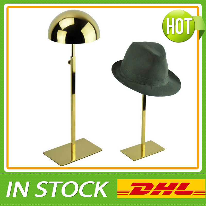 Metal Titanium Polished Gold Hat Display Stand Hat Display Rack Hat Holder Cap Display Hat Holder Rack free shipping metal gold hat display stand polished gold cap display racks