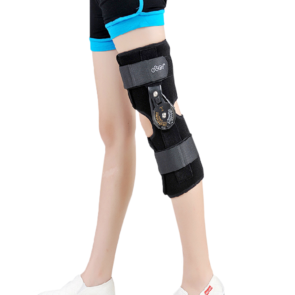 Orthopedic Hinged ROM Adjustable Sports <font><b>Knee</b></font> Brace Support Splint Stabilizer Wrap Sprain Post-Op Hemiplegia Flexion/Extension