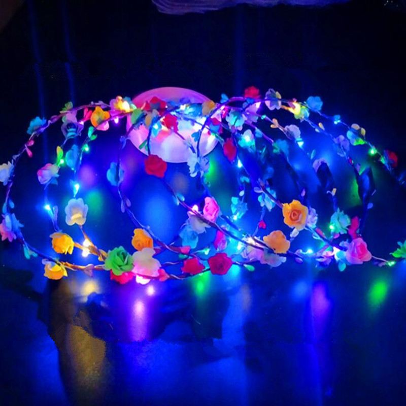 2018 New Women Girls Led Glowing Flower Headband Garland Wreath Flashing Foam Flowers Headpeice Halloween Glow Party Supplies Exquisite Traditional Embroidery Art Event & Party