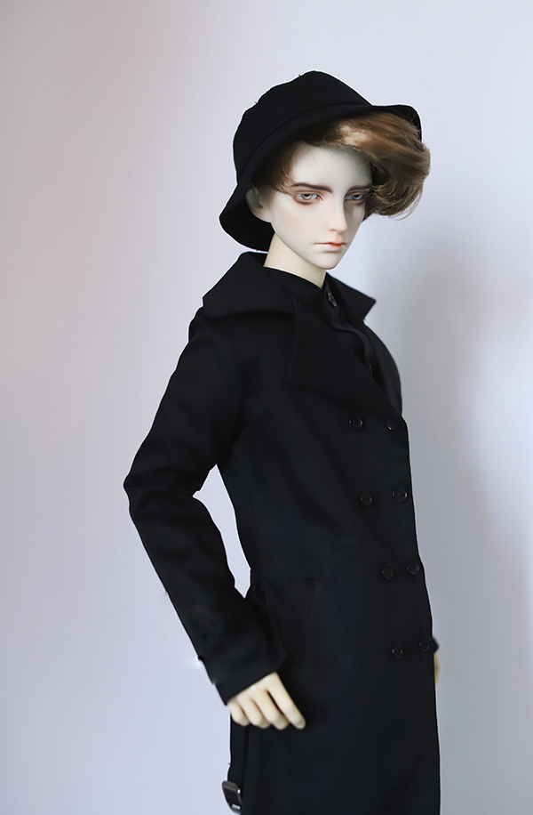 BJD coat Double-breasted black trench coat with belt suitable for 1/3 1/4 BJD SD17 SSDF doll accessories doll coat double breasted belt embellished trench coat page 4