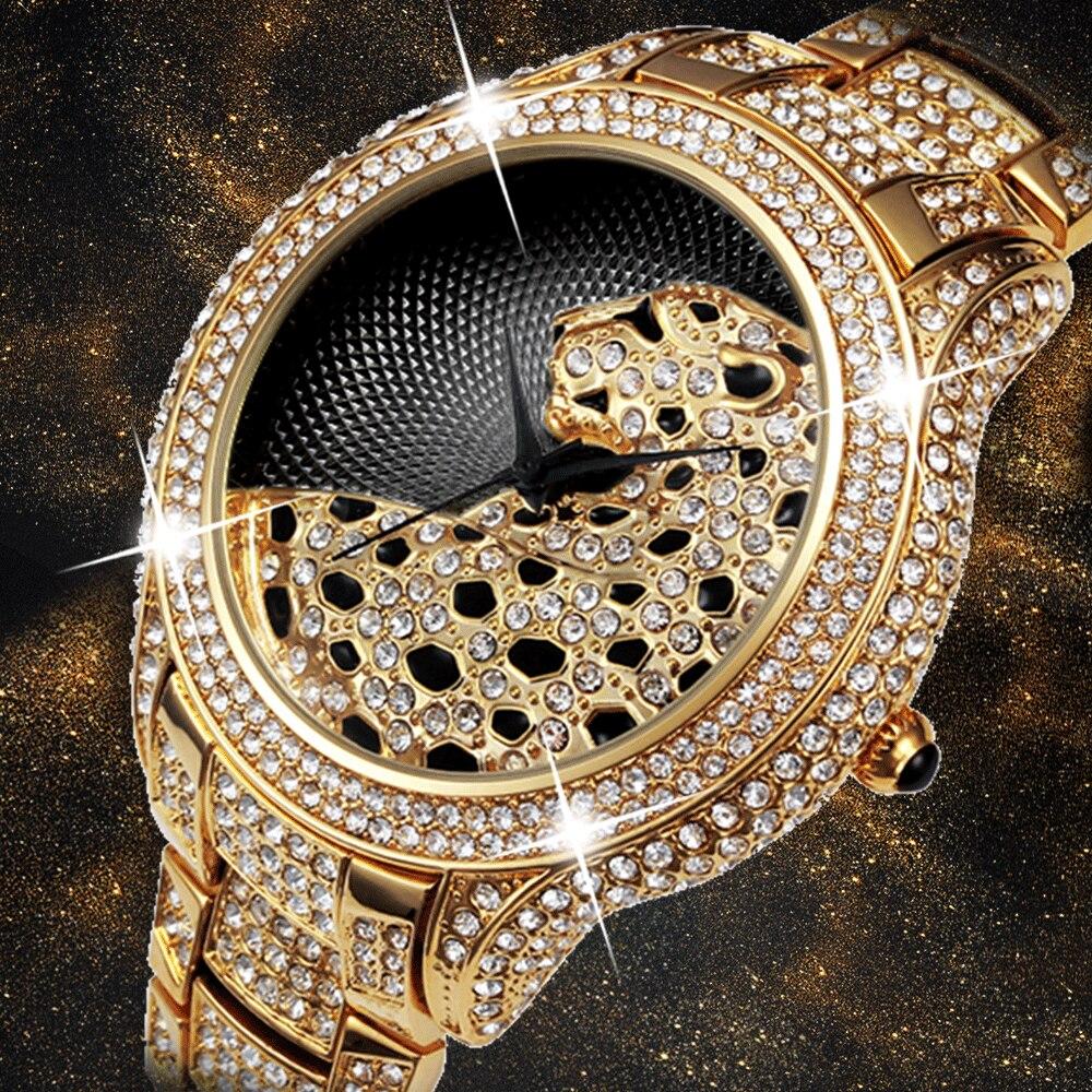 Miss Fox роскошные часы для мужчин Diamond Gold для мужчин s часы лучший бренд класса люкс C черный простой Тигр Xfcs бизнес для мужчин кварцевые часы
