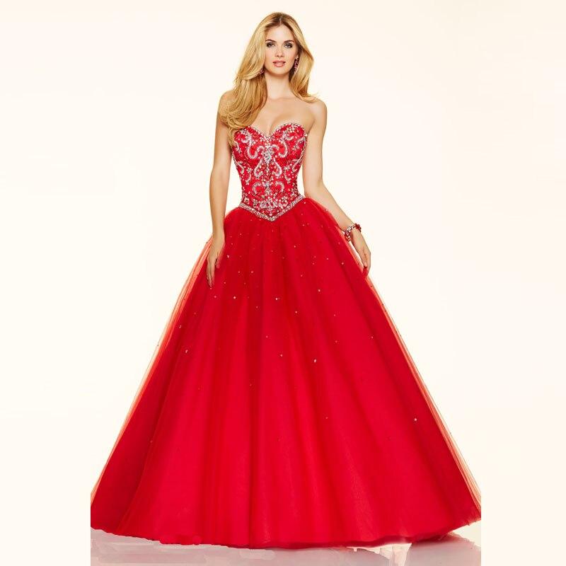 2017 Cristales y Perlas de Color Rojo de Novia de Organza Tela Baile Vestidos Largos Vestidos