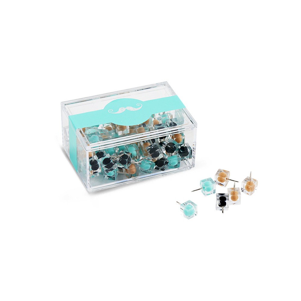80pcs Colorful Transparent Push Pins Clear Plastic Mini Thumb Tacks In Reusable Acrylic Box For Office Home Boards Decoration