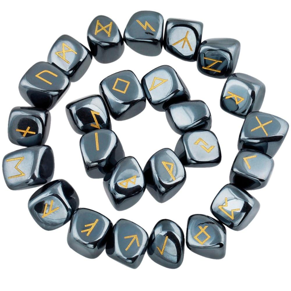 TUMBEELLUWA 1Lot (25Pc) Набор рунических камней с гравировкой гематита Исцеляющий хрусталь Рейки Лучший!