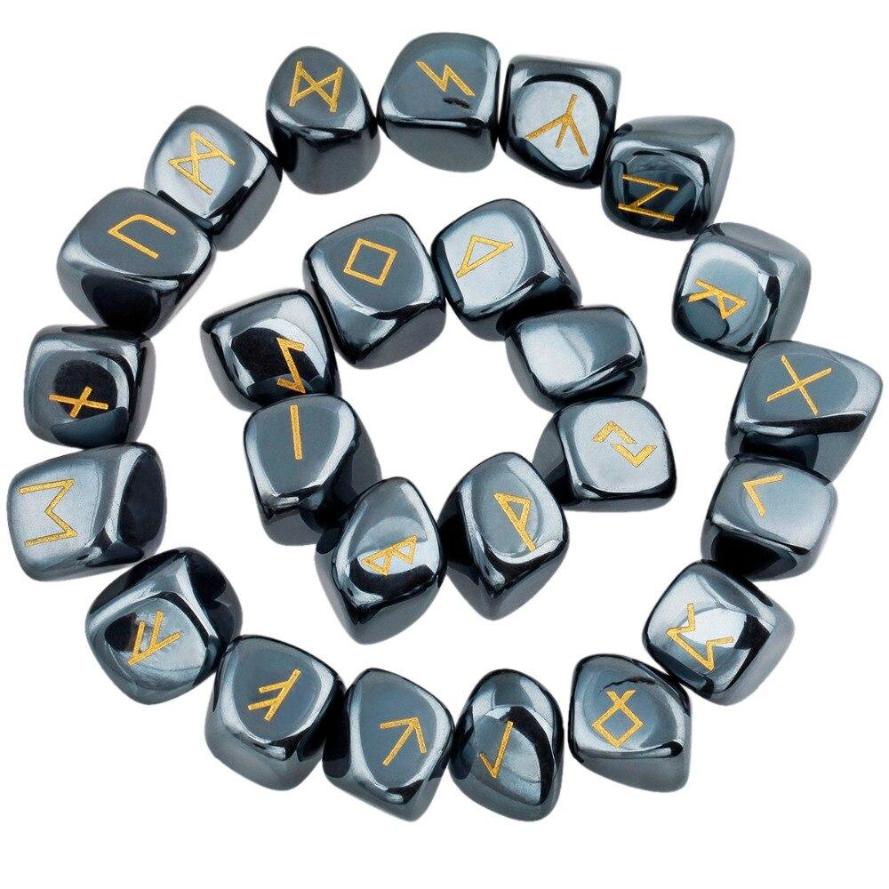 TUMBEELLUWA 1Lot (25Pc) Hematite Engraved Rune Stones Set Healing Reiki Crystal Tumbled Stones