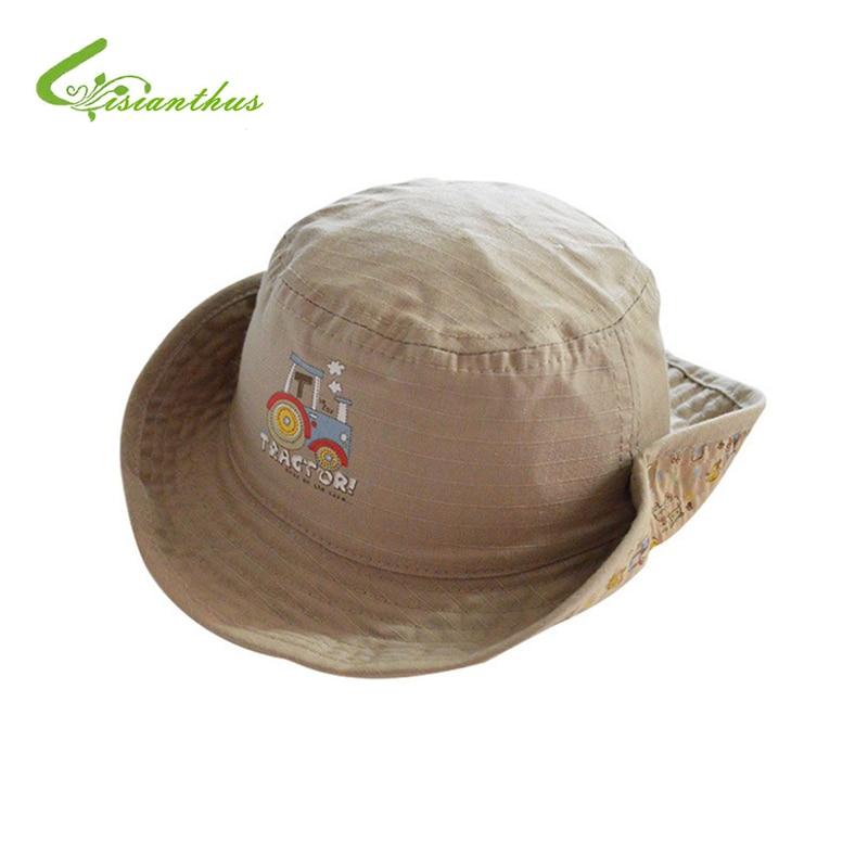 a5c8b092f2c Buy Children Boys Sun Hats Spring Summer Caps Cotton Bucket Hat Baby Kids  Boy Cool Tractor Cap New Fashion Free Drop Shipping 6M 6Y Online