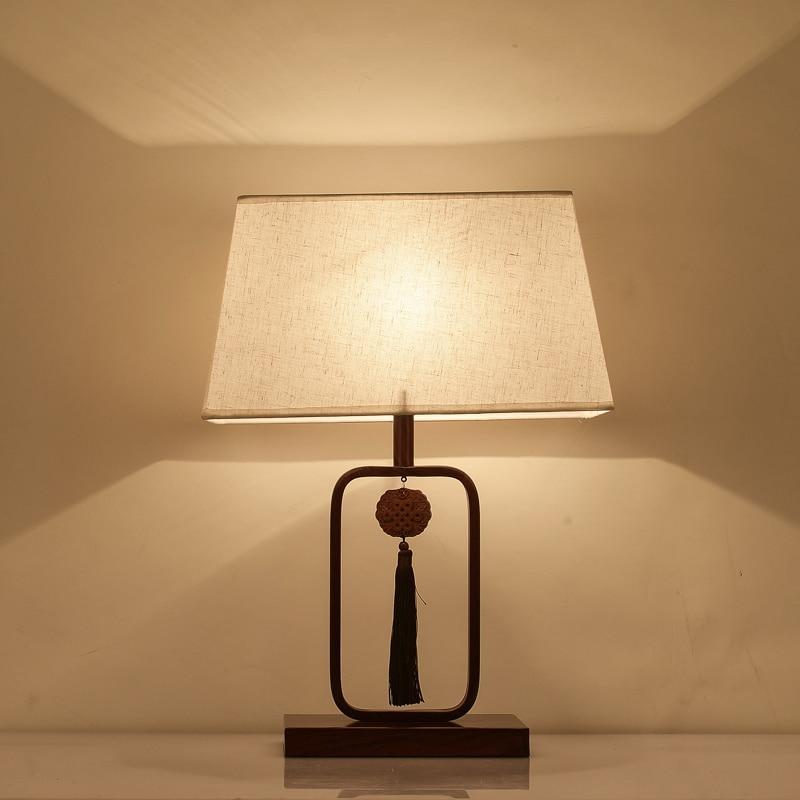 Китайский современные Настольная лампа спальня ночники теплый свет Ретро исследование китайском стиле гостиная настольные лампы za8214