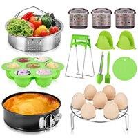 Behogar 13in1 Kitchen Tools for Instant Pot Steamer Basket Egg Rack Bowl Clip Springform Pan Kitchen Tongs Trivet Mat Egg Mold