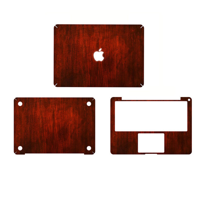 Red wood grain full body cover laptop decal stickers case for apple macbook pro 15 15 4