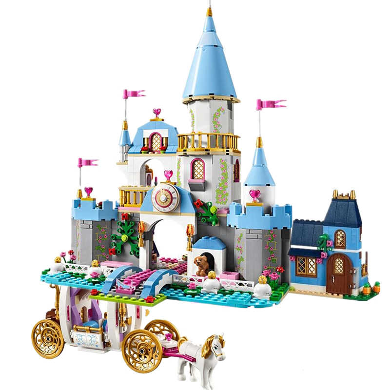 New 1093pcs Cinderella Magic Castle Princess Girl Friend Building Blocks For Girl Toys Compatible Legoinglys Friends