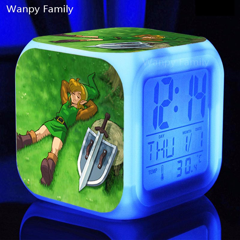 3d Game Legend of Zelda Alarm Clocks,Kids Birthday Gift Multifunctio digital alarm clocks Glowing LED Color Change alarm clocks