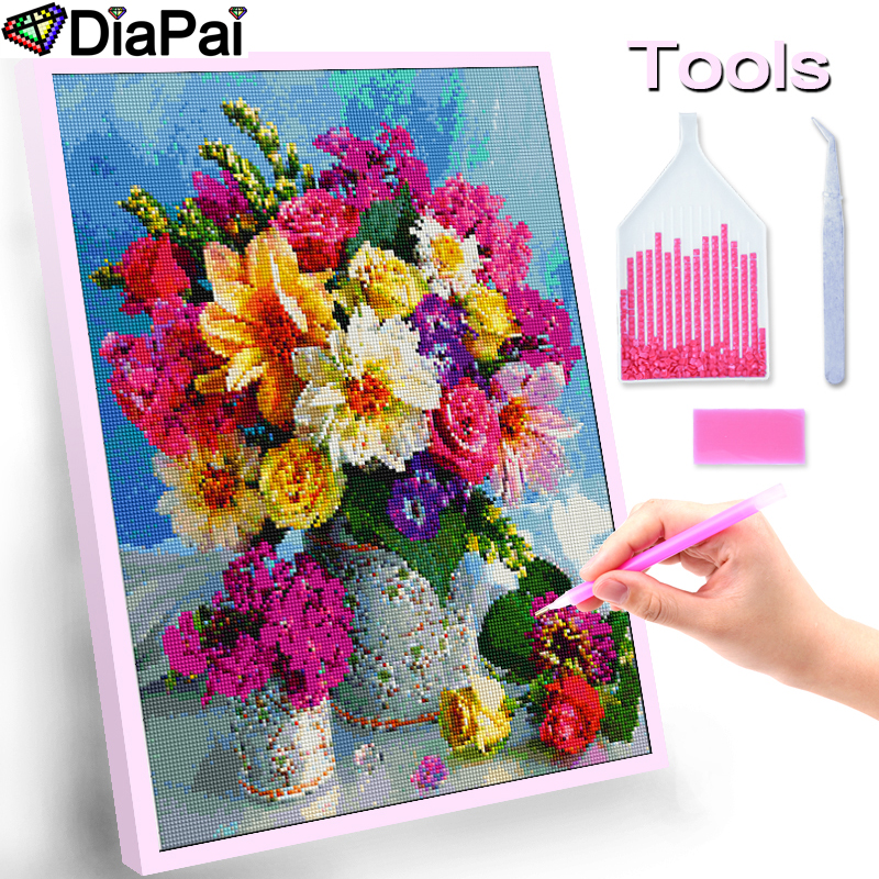 DIAPAI 100 Full Square Round Drill 5D DIY Diamond Painting quot Flower sunset quot Diamond Embroidery Cross Stitch 3D Decor A18710 in Diamond Painting Cross Stitch from Home amp Garden