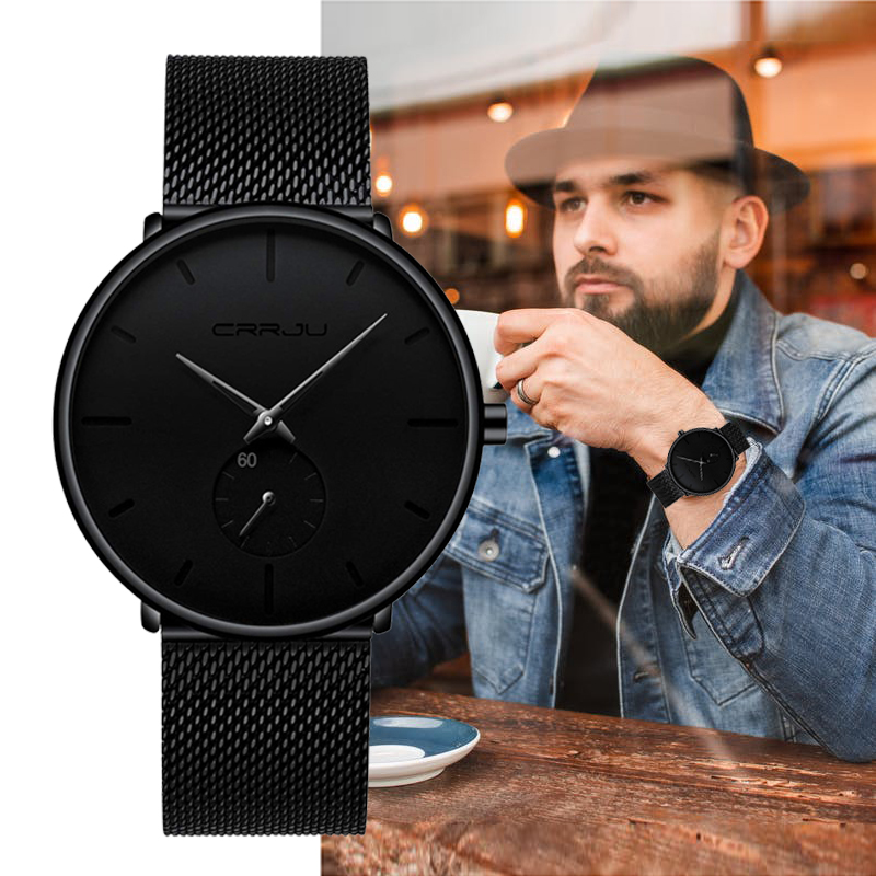 CRRJU Watch Classic Mesh Black Top-Brand Fashion-Design Luxury Men Ultra-Thin Relogio Masculino