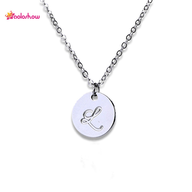 16mm engraved letter round disc initial necklace for women gold 16mm engraved letter round disc initial necklace for women gold silver color collier femme jewelry necklace girl gifts nl 2459 2 in pendant necklaces from mozeypictures Image collections