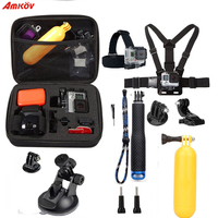 Action Camera Accessories Set 10 In 1 Kit Aluminum Extendable Pole Stick Chest Head Strap Car