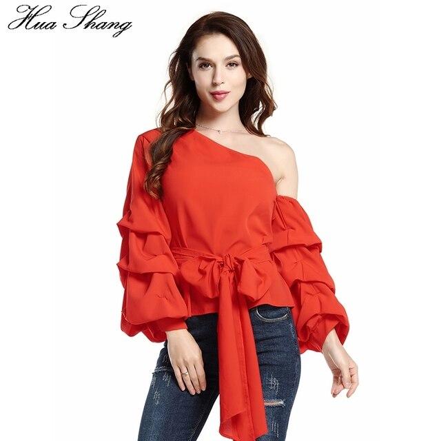 5de1a072b86 Huashang Chiffon Blouse Tops Women 2018 Fashion Puff Long Sleeve Off  Shoulder Sexy Summer Top Lace Up Bow Tie Red Chiffon Blouse