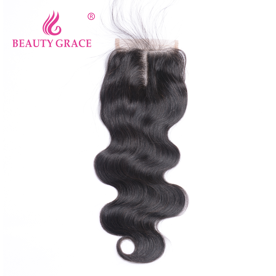 Beauty Grace Peruvian Hair Body Wave Lace Closure With Baby Hair 4x4 Remy 100% Human Hair Middle Free Three Part Top Closures-in Closures from Hair Extensions & Wigs