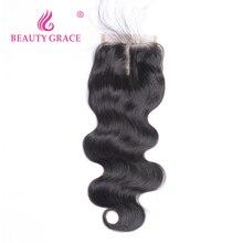 Belleza Grace pelo peruano onda del cuerpo Cierre de encaje con pelo de bebé 4x4 Remy 100% cabello humano medio libre cierre superior de tres partes