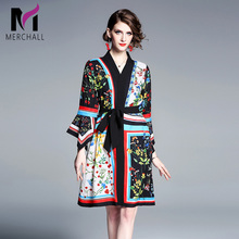 Merchall Runway Fashion Designer Spring Dresses Womens Flare Sleeve Gorgeous Printed Belt Dress Loose Mini Party Vestidos