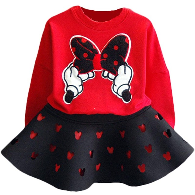 2 pcs Bébé Filles Enfants Minnie Mouse Vêtements Mis en Bande Dessinée T-shirt Jupe Enfants Enfants Mode Causal Robe Sport Vêtements survêtement