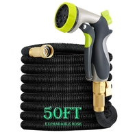 HOT 50Ft Garden Hose, All New Expandable Water Hose Set With Double Latex Core,3/4 Solid Fittings, Extra Strength Fabric, Flex