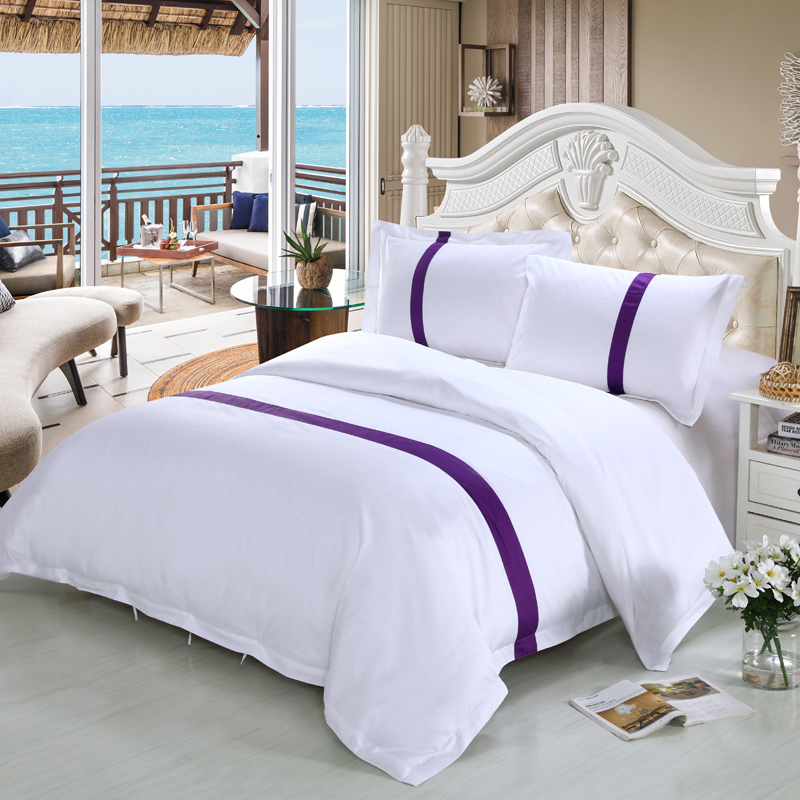 New 100 Cotton White Color Hotel Bedding Sets King Queen