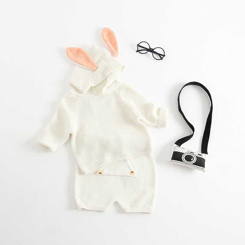 Everweekend Baby Boys Girls Bunny Ears Knitted Sweater Outfits Tops and Shorts 2pcs Sets Toddler Baby Autumn Winter Clothing