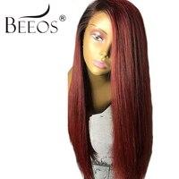 Beeos отбеленные узлы прямо полный Кружево парик Ombre Человеческие волосы парик с волосами младенца 12 24 дюйм(ов) бразильский не Реми кружево вол