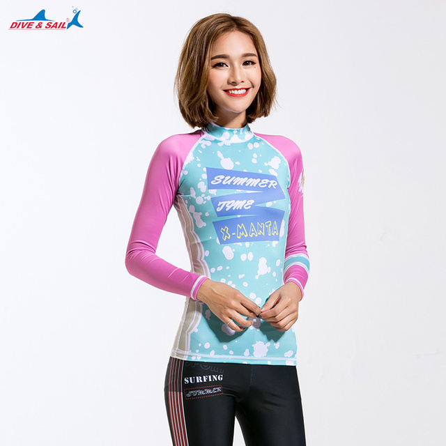 a4a2d0023c Women's UV Sun Protection Women's Basic Skins Wetsuit Long-Sleeve Rashguard  Top UPF50+ Girls Sun