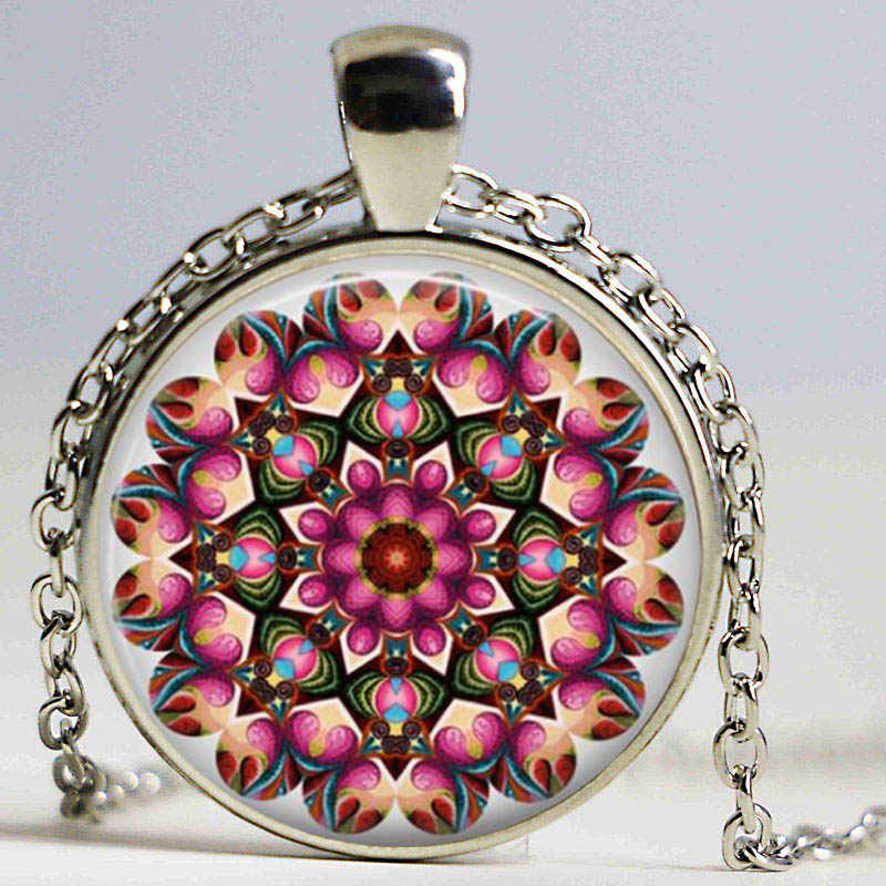 Collar de Mandala, collar de cúpula de cristal de arte flor Vintage Henna tatuaje azul Mandala budismo joyería Yoga colgante