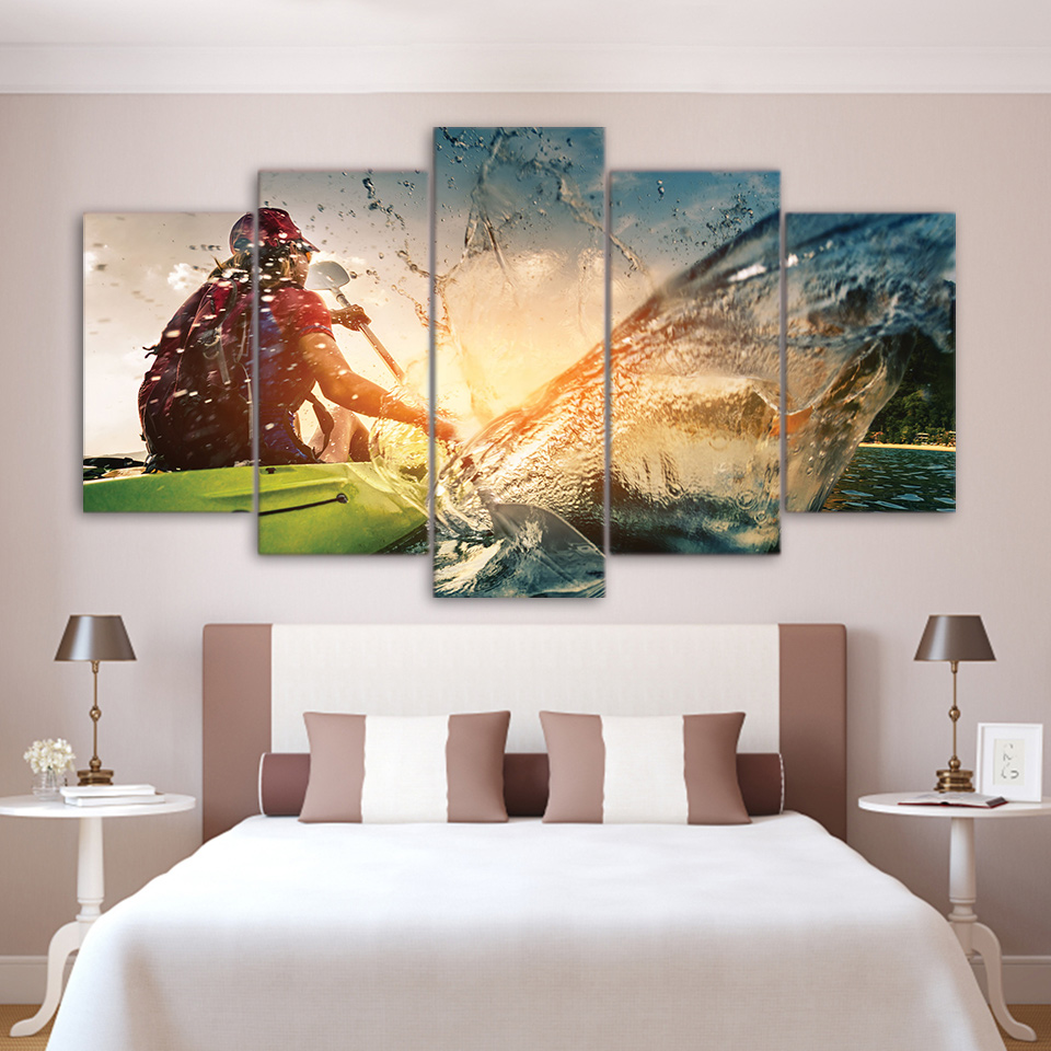 Modular Pictures Modern Home Wall Art Decor Frame HD Print Painting 5 Panel Canoeing Sports On Canvas For Living Room Artworks