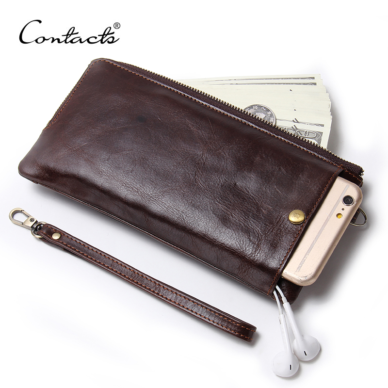 CONTACT'S Wristlet Bag Genuine Leather Cellphone Holder Clutch Wallets Men Credit Card Holder Long Purses With Zipper Coin Bag women genuine leather character embossed day clutches wristlet long wallets chains hand bag female shoulder clutch crossbody bag