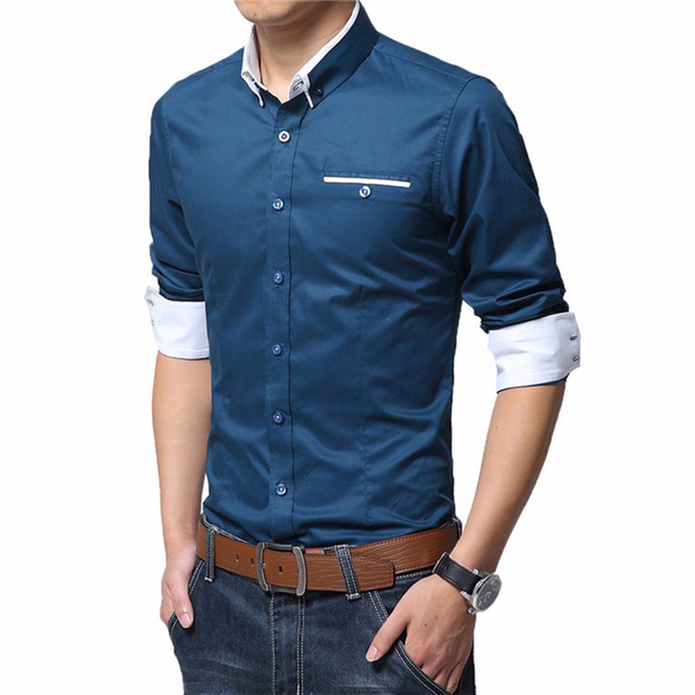Men's Wedding 2018 Shirt Long Sleeve Men Dress Shirt Business Solid Color Casual Shirts Work Wear Formal Slim Shirt Man CY18001 3