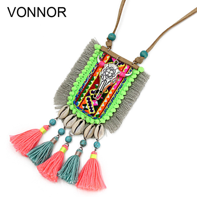 cfcde10e158 VONNOR Handmade Necklaces & Pendants for Women Bohemia Jewelry Shell Tassel  Long Necklace Sweater Chain Alloy