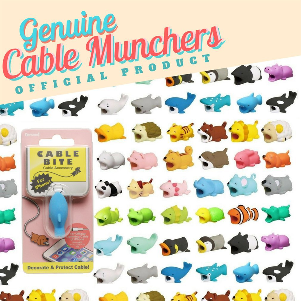 Cute Cartoon Cable Bites Protector For IPhone Winder
