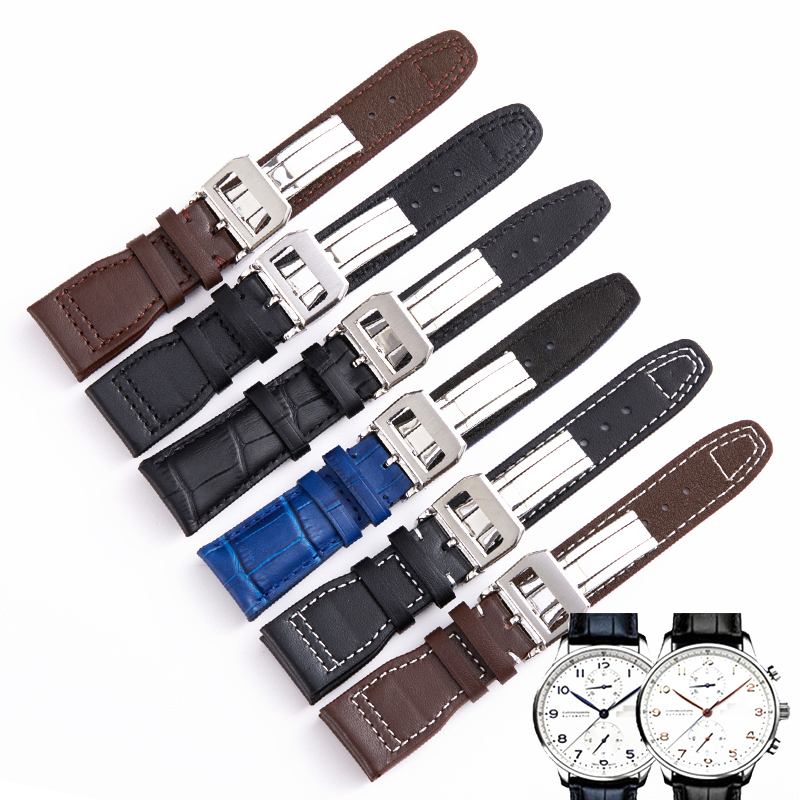 22MM Lengthened Cowhide Men Watch Band Strap for IWC TOP GUN AQUATIMER Pilot Series Replacement Genuine Leather Wristband