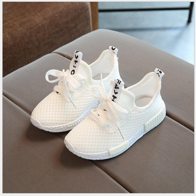 2018 New Fashion Kids Baby Summer Air Mesh Sport School White Shoes Boys Girls Children Spring Running Sneaker Shoes 25