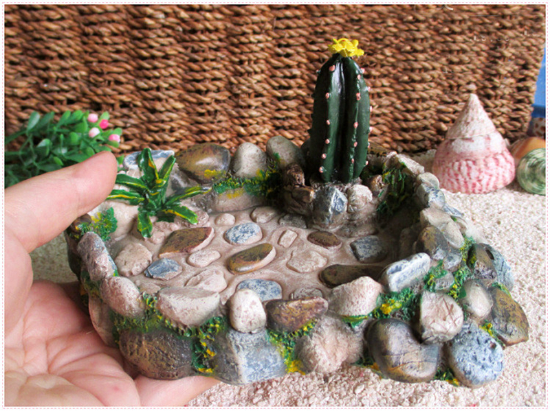 Resina alimentazione pentola per soldier crab resina cactus stagno crawler tartaruga scatola tartaruga rettile box paesaggistica