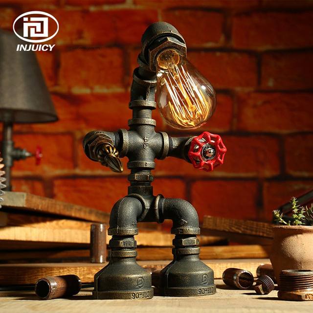 Industrial Retro Style Rust Iron Plumbing Pipe Robot Desk Lights ...