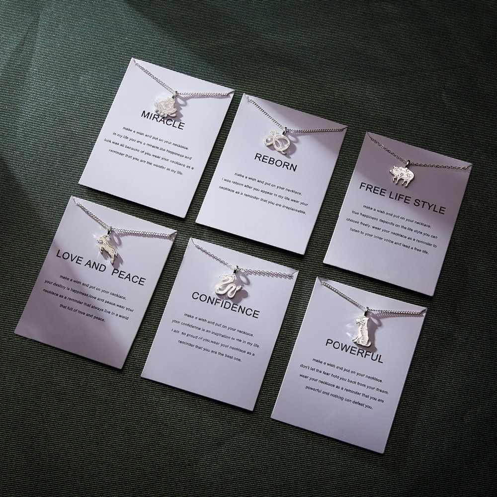 RINHOO 2018 modny naszyjnik dla kobiet 12 zwierząt zodiak New Life królik obojczyk wisiorek krótka karta papierowa naszyjnik biżuteria prezent
