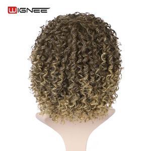 Image 5 - Wignee blond peruka z grzywką wysokiej temperatury ludzkie włosy kręcone peruki peruki syntetyczne dla czarnych kobiet afroamerykanów naturalne peruki