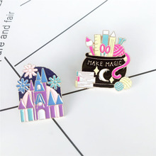 XEDZ New trend color cartoon house life supplies brooch fashion creative personality shirt backpack jewelry badge friend gift