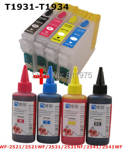 ФОТО T1931-T1934 refillable ink cartridge for epson WF-2521 WF-2521WF WF-2531 2531NF WF-2541/WF-2541WF+4 Color Dye Ink 400ml bk c m y