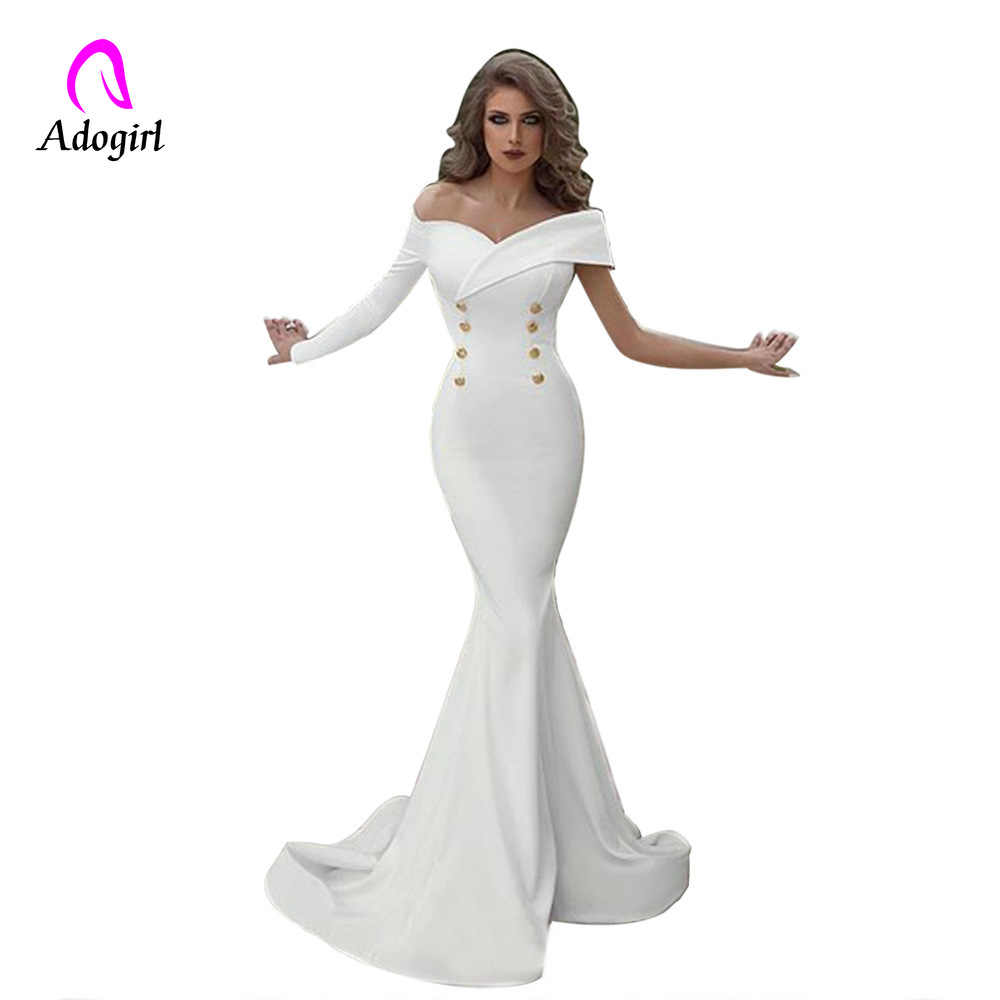 Off Shoulder Mermaid Evening Party Dresses 2019 Long Evening Gown Long Sleeves White Maxi Robe De Soiree Elegant Formal Dress