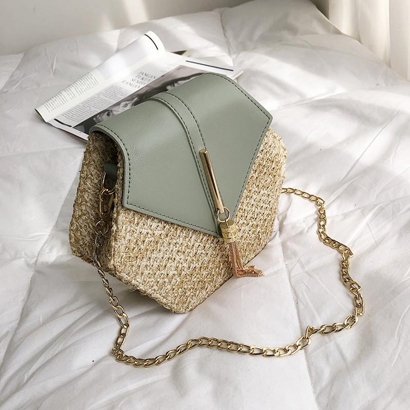Hexagon Mulit Style Straw+leather Handbag Women Summer Rattan Bag Handmade Woven Beach Circle Bohemia Shoulder Bag New Fashion 20
