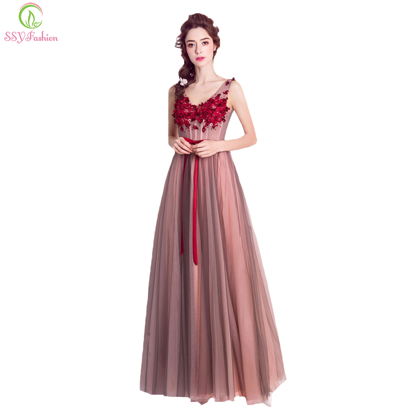 SSYFashion New Wine Red Lace Flower Evening Dresses The Bride Banquet Sexy V neck Floor length