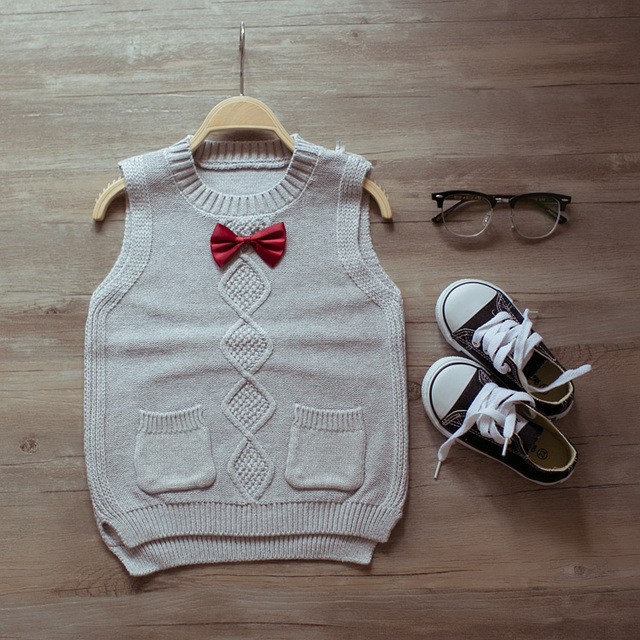 kids knitted sweater 2017 Spring autumn new baby bow sweater children fashion cute boys and girls pretty vest sweaters