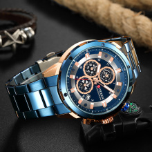 CURREN Watch for Men Blue Luxury Quartz Stainless Steel Man Watches Top Brand Chronograph Clock Wristwatches