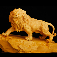 Poplar wood carving decoration lion crafts pure hand carving lions